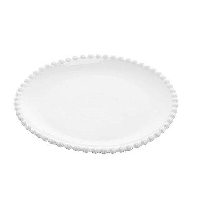 Prato sobremesa porcelana pearl branco 20cm