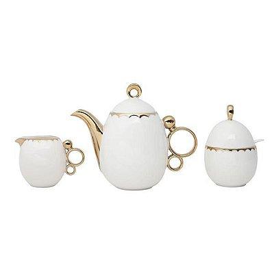 Aparelho de chá egg 3 peças de porcelana - Wolff