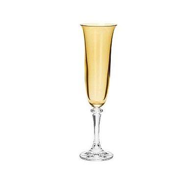 Conjunto com 6 Taças para Champagne em Cristal Kleopatra Branta Ambar 175ml