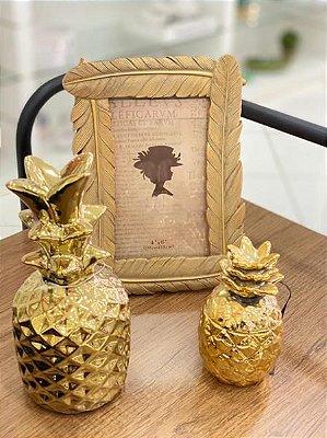Porta retrato plumagem dourado 10x15 - Mimo Style