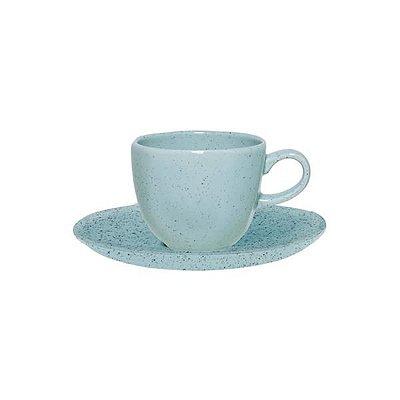 Xícara de café com pires Ryo Blue Bay 75ml - Oxford