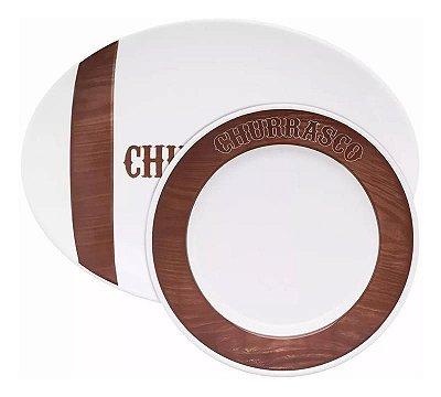 Jogo Porcelana para Churrasco 10 Peças Oxford