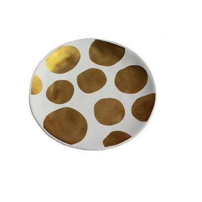 Prato de Sobremesa Com Bolinhas Douradas