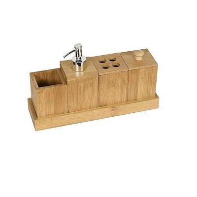 Kit Para Banheiro 5 Peças de Bambu