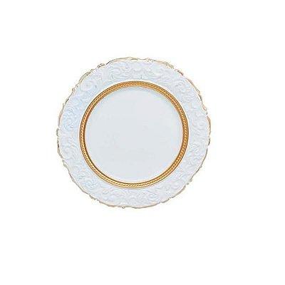 Sousplat Branco com Dourado -Rafimex