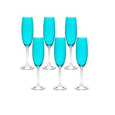 Conjunto com 6 Taças para Champanhe em Cristal Ecológico Colibri Turquesa 220ml - Wolff