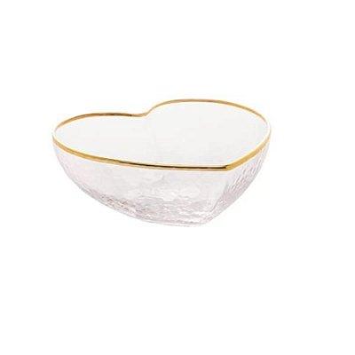 Bowl de Coração Transparente com Borda Dourada