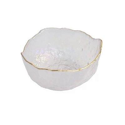 Bowl de Vidro com Borda Dourada 19CM - Home Design