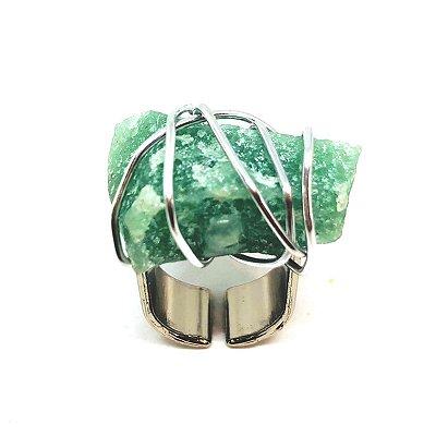 Anel Prateado Quartzo Verde