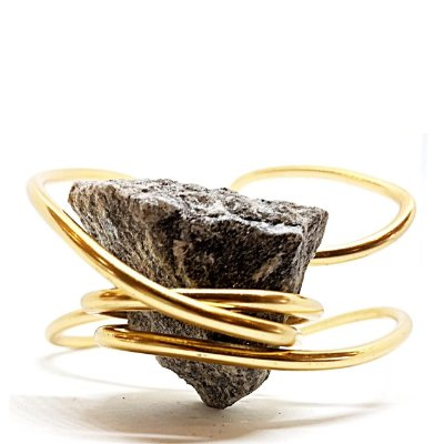 Bracelete Pedra Bruta Cinza