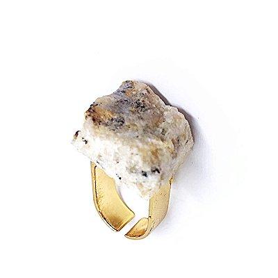 Anel Pedra Bruta Branco Mescla