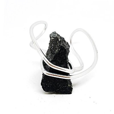 Bracelete Pedra Bruta Preto - Prateado