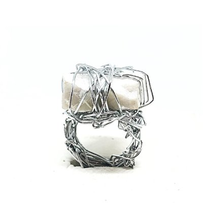 Anel Ninho Prata Pedra Bruta Branca