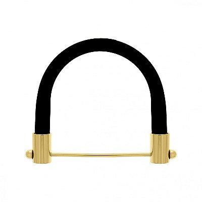 Fios Kiki - Alça Preta Resina Brilhante com Dourado - para bolsas - 12,5 cm