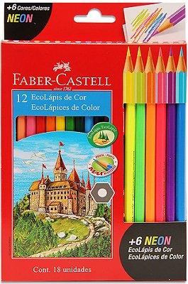 Lápis De Cor Faber Castell 12 Cores + 6 Neon