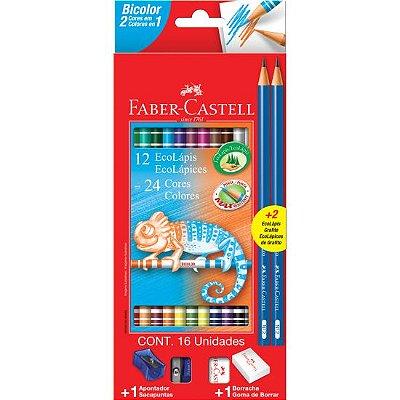 Lápis de Cor Bicolor Faber Castell Com 12 lápis e 24 Cores + 02 Lápis Preto + Borracha e Apontador
