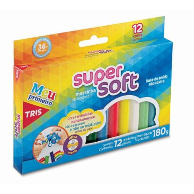 Massa de Modelar Super Soft 12 Cores 180g Tris