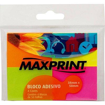 Bloco Adesivo Maxprint Pequeno (4 blocos - 38x50mm) - Amarelo/ Verde / Rosa/ Laranja