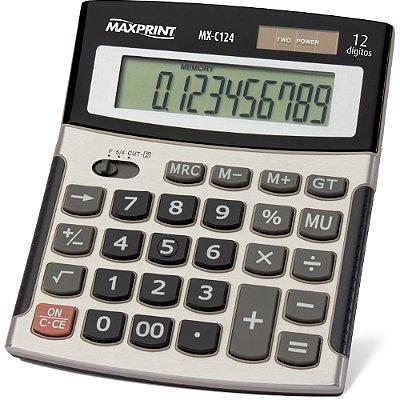 Calculadora Eletrônica de Mesa 12 Dígitos - MX-C124 - Maxprint