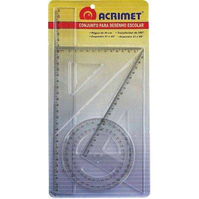 Conjunto Para Desenho 2 Grau Régua 30cm + Esquadro 60º e de 45º + Transferidor 360º