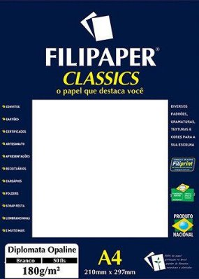 Filipaper Diplomata 180g/m² (50 folhas; branco) A4
