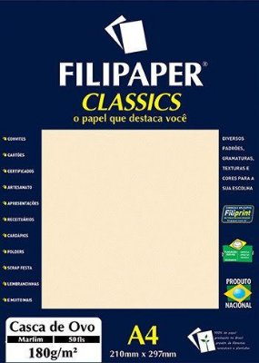 Filipaper Casca de Ovo 180g/m² (50 folhas; marfim)
