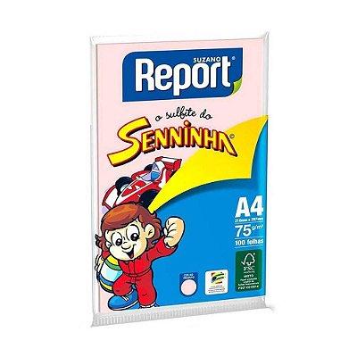 Papel Sulfite A4 75g Senninha Rosa Embalagem Com 100 Folhas Report