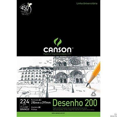Bloco Canson A4 Branco 20 Folhas Desenho 200