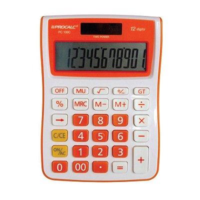 Calculadora De Mesa Procalc Pc100-O 12 Digitos Laranja