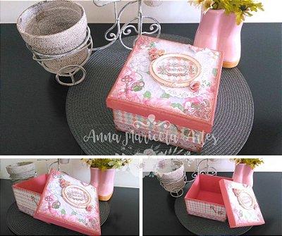 Caixa Decorativa Quadrada Rosa