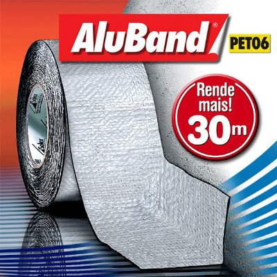 Manta Impermeabilizante Asfáltica Autoadesiva Flexível de Alumínio com Poliéster - AluBand PET06 Alumínio Maxi - Rolos 30m