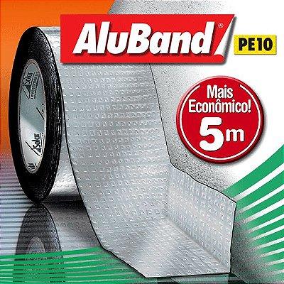 Manta Impermeabilizante Asfáltica Autoadesiva Multiuso de Alumínio com Polietileno - AluBand PE10 Alumínio Mini - Rolos 5m