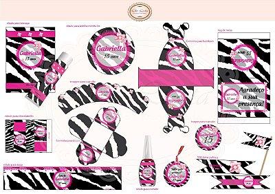 Kit digital Zebra e Pink com pérola