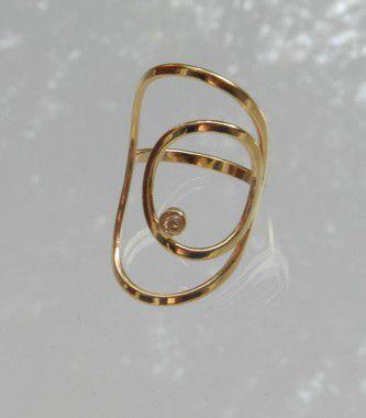 A25 - anel dois círculos com zirconia