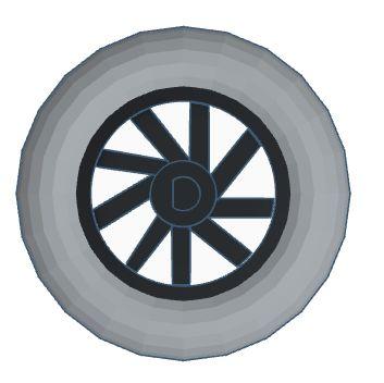 "284 - Roda Modelix 59mm com centro tipo ""D"" 6mm"