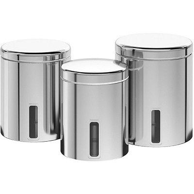 Conjunto de Potes Brinox Aço Inox C/ Visor e Tampa 3 Pç