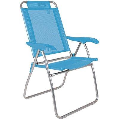 Cadeira Mor Alumínio Reclinável C/ Porta Copo Boreal Azul