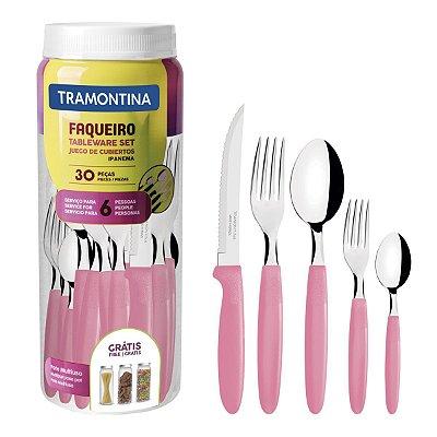Faqueiro Tramontina Ipanema Aço Inox 30 Peças Rosa Claro