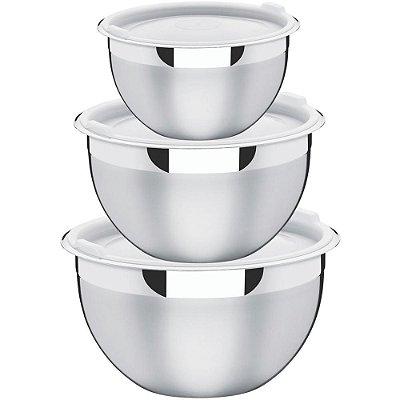 Conjunto de Potes Inox 3 Peças Cucina Tramontina