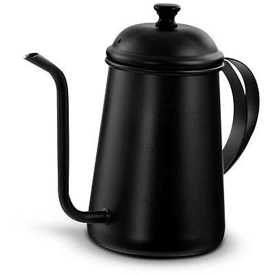 Bule para Café com Bico Fino Pescoço de Ganso 700ML Preto