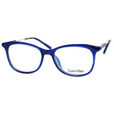 761d8e6bb5a42 Armação de Óculos Feminino Calvin Klein CK5976 Azul Translúcido Brilho com  Dourado