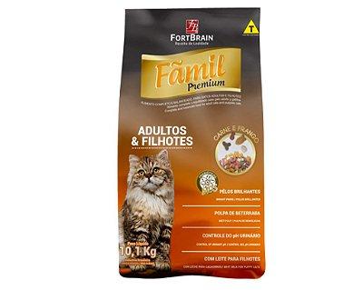 Ração Fãmil Premium Gatos Adultos e Filhotes Sabor Carne e Frango - 10,1 kg