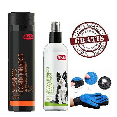 shampoo para cachorro - Condicionador ibasa + antipulgas spray - ibasa + Luva magnetica tira pelos
