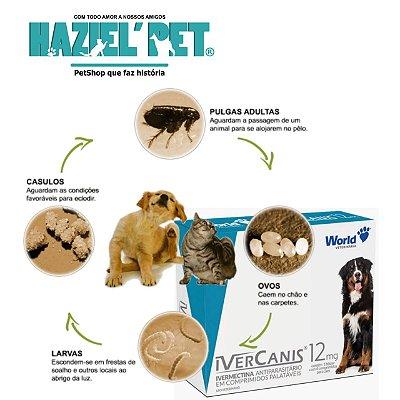 Ivercanis 12mg - sarnicida carrapaticida antipulgas Cães até 60kg
