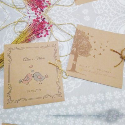 Convite Casamento Rústico Aline