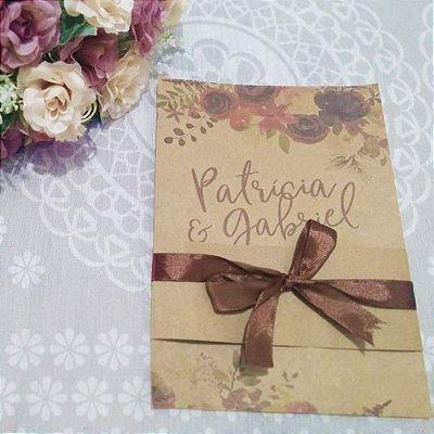 Convite Casamento Rústico Patrícia