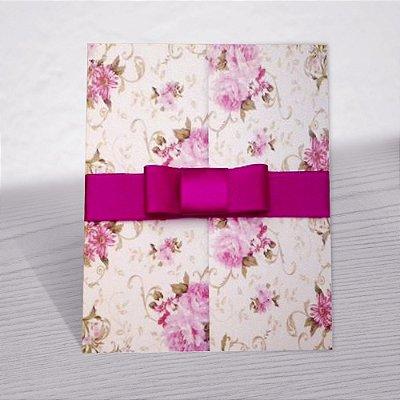 Convite Casamento Floral Pink