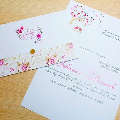 Convite Casamento Floral Fabi