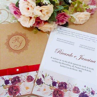 Convite Casamento Rústico R&K