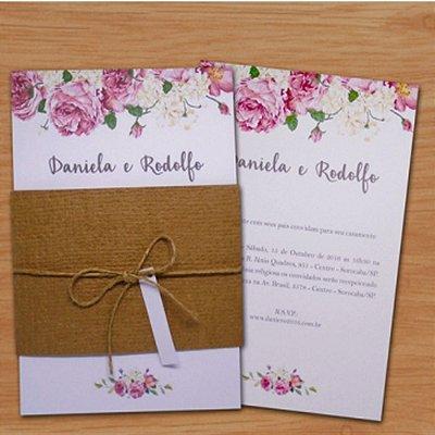 Convite Casamento Rústico Rose Rustic